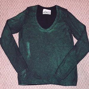 AIKO sz M Green glitter painted sweater.